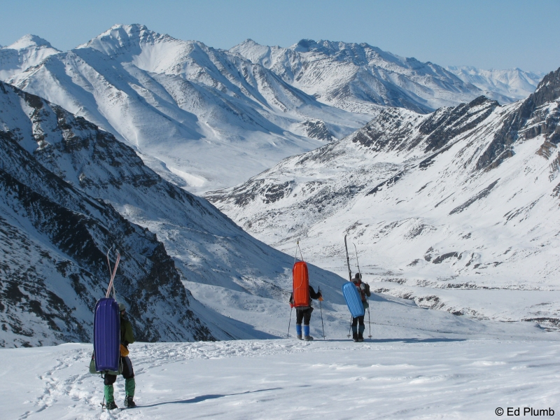 Dan Carlson, Brian Jackson, and John Shook at Peregrine Pass, Brooks Range, Alaska, 2010