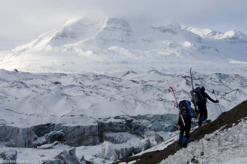 Tyler Johnson and Luc Mehl at the Russell Glacier, Wrangell Mountains, Alaska. Photo by John Pekar, 2008